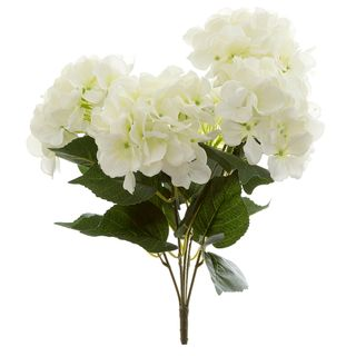 Hydrangea Bundle with Leaves 55cm White