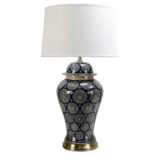 Shanghai - Dark Blue/White - Glazed Motif Ceramic and Metal Ginger Jar Table Lamp Base Only