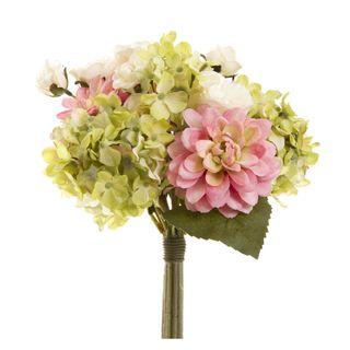 Dahlia Lisianth & Hydrangea Bouquet 28cm Grey & Pink