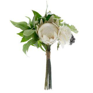 Protea Rose Dusty Miller Mix Bouquet 40cm White