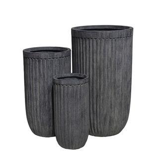 Comores Planter Set of 3 Dark Grey