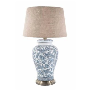 Aviary - Blue/White - Glazed Bird Motif Ceramic and Metal Urn Table Lamp Base Only