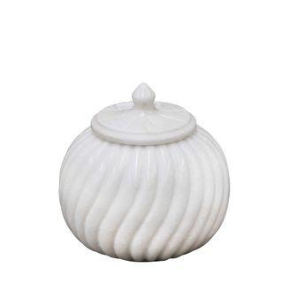 Marble Carved Jar Medium White