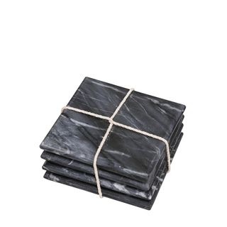 Marble Square Set of 4 Coasters Black