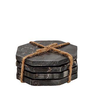Marble Octagonal Coaster Black