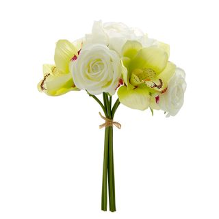 Rose Peony & Cymbidium Bouquet 30cm White