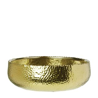 Dimpled Shallow Bowl Large Gold