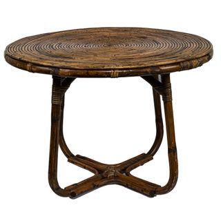Lilo Table Round Rattan Antique