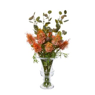 Protea Wild Stem in Vase w/Leaf 63cm Orange