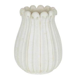 Marble Tulip Vase Large White