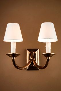 Elysee Two Arms Wall Lamp in Antique Brass