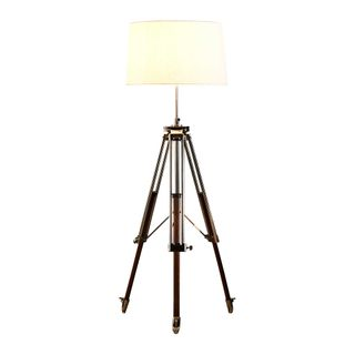 Loft - Natural and Shiny Nickel - Metal and Wood Tripod Floor Lamp with Shade
