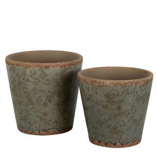 Somerset Ceramic Pot Set of 2 Thyme