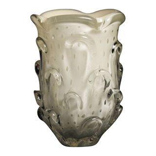 Petal Art Glass Vase Short Silk Cream