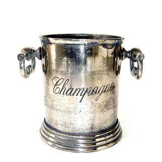 Round Champagne Ice Bucket Silver