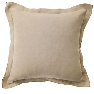 French Frill Linen Cushion Taupe