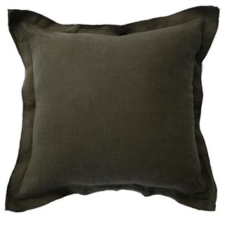 French Frill Linen Cushion Olive Green