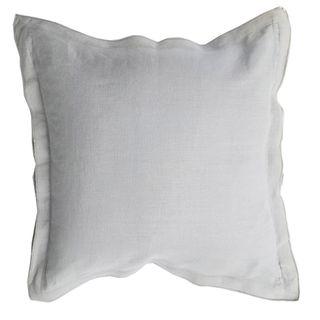 French Frill Linen Cushion Light Grey