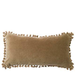 Velvet Knot Breakfast Cushion Taupe