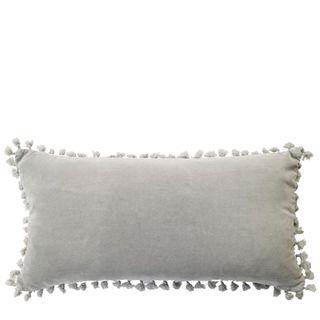 Velvet Knot Breakfast Cushion Light Grey