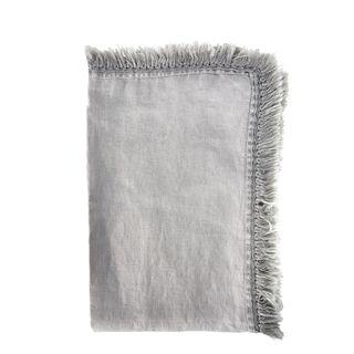 Linen Tassel Table Runner Light Grey