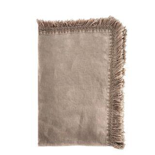 Linen Tassel Table Runner Taupe