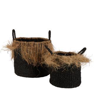 Havana Seagrass Jute Basket Set of 2 Black