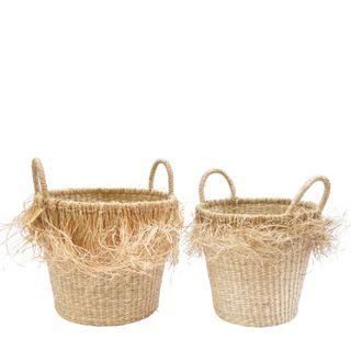 Havana Seagrass Jute Basket Set of 2 Natural