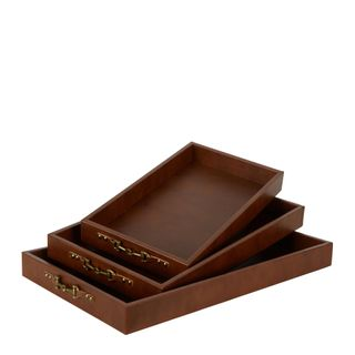 Chestnut Tray Set of 3 Brown