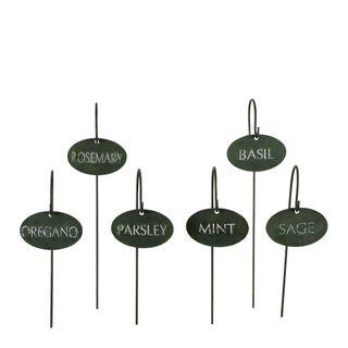 Herb Iron Garden Marker Set of 6 Antique Green
