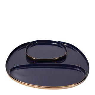 Jaelle Décor Brass Platter Brass Set of 3 Navy