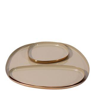 Jaelle Décor Brass Platter Brass Set of 3 Taupe