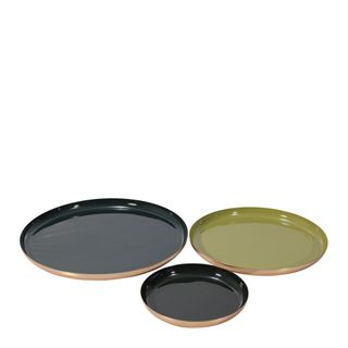 Donai Décor Brass Platter Set of 3 Olive Forest