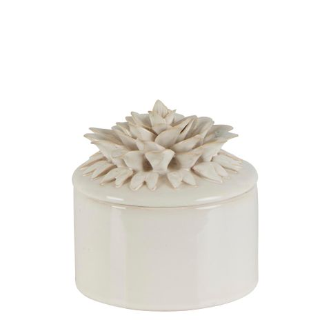Lily Ceramic Jar Medium White