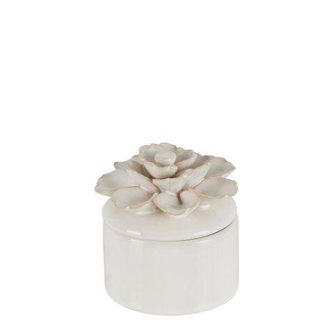 Lily Ceramic Jar Small White