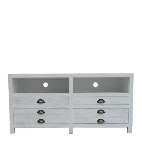 Beckett Pine TV Cabinet White