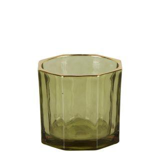 Gatsby Glass Tealight Holder Leaf Green