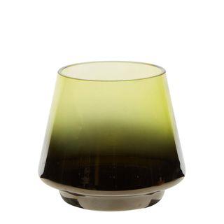 Drop Silvered Glass Tealight Holder Leaf Green