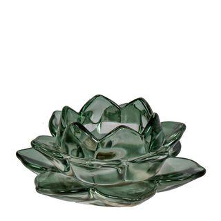 Rose Glass Tealight Holder Emerald