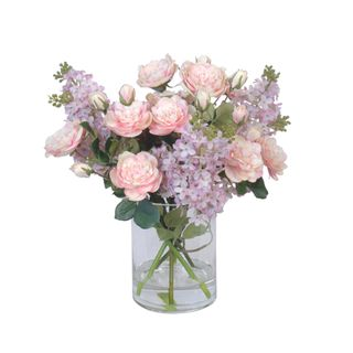 Lilac Mix in Glass Vase Pink