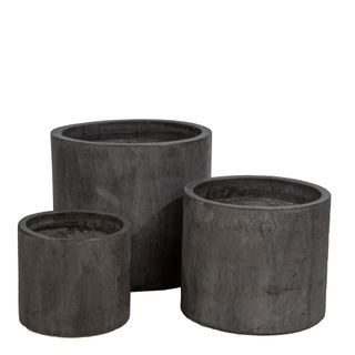 Venda Cylinder Pot Set of 3 Grey