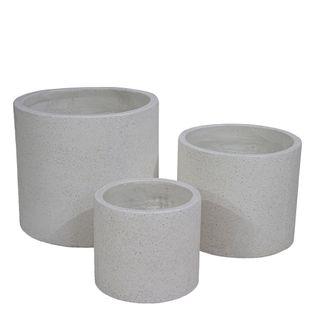 Venda Cylinder Pot Set of 3 White