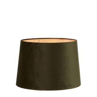 Velvet Drum Lamp Shade Medium Olive Green