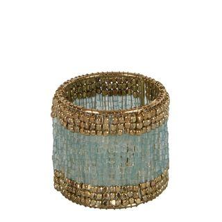 Beaded Napkin Ring Mint Gold