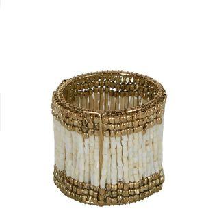 Beaded Napkin Ring White