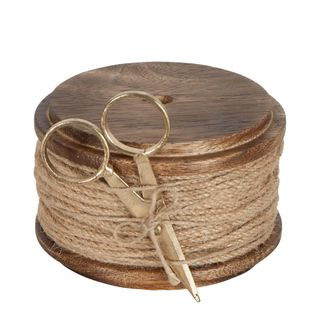 PRE-ORDER Jute Cord On Wooden Spool Natural With Scissors 10m