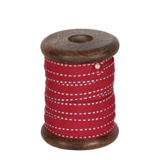 PRE-ORDER Red Ticking Grosgrain Ribbon On Wooden Spool 10m