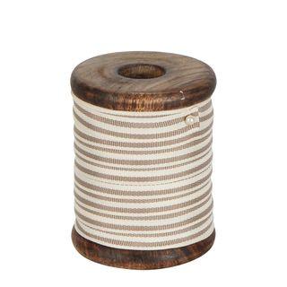 PRE-ORDER Grey Stripe Grosgrain Ribbon On Wooden Spool 10m
