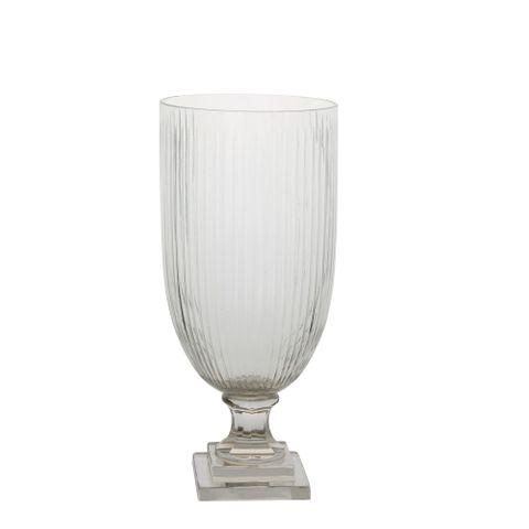 PRE-ORDER Cello Strip Cut Glass Urn Clear