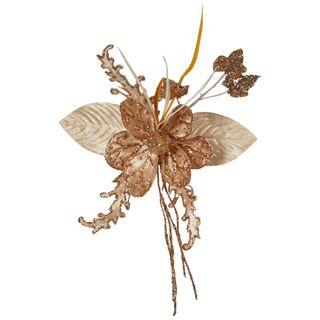 Embossed Velvet Magnolia Clip Gold